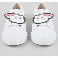 Tênis Infantil Molekinha Com Arco-Íris Removível E Glitter Branco