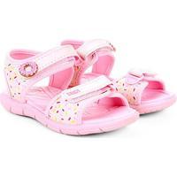 Sandália Infantil Klin Velcro Estampada Tic Tac Feminina - Feminino-Rosa