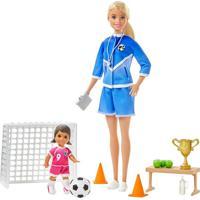 Boneca Barbie E Playset - Barbie Técnica - Loira - Treinadora De Futebol - Mattel - Loira Mattel