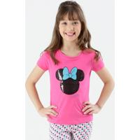 Blusa Infantil Minnie Paetês Manga Curta Disney