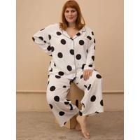 Pijama Clássico Maxi Bolas Plus Size Branco-Gg Bra