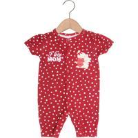 Macacão Mini Baby Curto Menina Vermelho