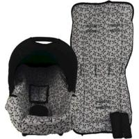 Conjunto Capa De Bebê Conforto E Capa De Carrinho Alan Pierre Baby 0 A 13 Kg - Panda Cinza