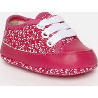 Tênis Com Amarração & Recortes- Pink & Brancotico Baby