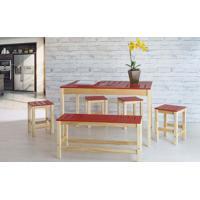 Sala De Jantar Gourmet De Madeira Maciça Taeda Natural Com Tampo Colorido Olga – Verniz Natural/Vermelho 120X80X75Cm