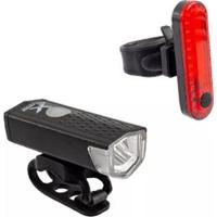 Kit Farol Xplore + Lanterna Para Bicicleta Led Dianteiro 120 Lumens Pisca Usb Traseiro - Unissex
