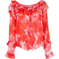 Pinko Blusa Com Estampa Floral - Vermelho