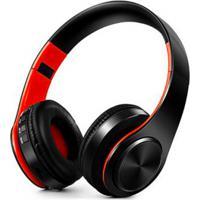 Fone De Ouvido Bluetooth Dobrável - Preto E Laranja