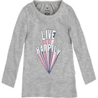 "Blusa Alongada ""Live Happily""- Cinza Claro & Rosa Clarohering"