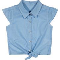 Camisa Listrada Com Amarração- Azul & Brancatip Top