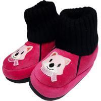 Pantufa Infantil Feminina Em Pelúcia Para Inverno - Gatinha