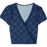 Blusa Azul Escuro Ampla Com Renda