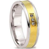Aliança De Casamento Feminina Ouro 18K E Prata 950 Wm Joias 5Mm Com Zircônia F2604 - Feminino-Dourado