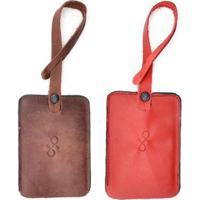 Kit 2 Tag De Mala Couro Hendy Bag Estonado Masculino - Masculino-Marrom Claro+Vermelho