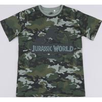Camiseta Juvenil Jurassic World Estampada Camuflada Manga Curta Verde Militar