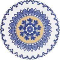 Prato Sobremesa Floreal La Carreta 20 Cm Azul E Amarelo Oxford
