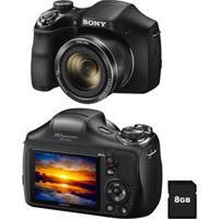 "Câmera Digital Sony Cyber-Shot Dsc-H300 Preta - 20.1 Mp, Super Zoom Óptico De 35X, Lcd 3.0"", Foto Panorâmica 360º, Vídeos Hd + Cartão 8Gb"