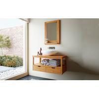 Conjunto Para Banheiro - Gabinete Suspenso - Bancada Com Gavetas E Espelheira De Madeira Maciça Aquiles - Stain Jatobá