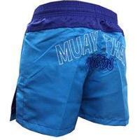 Calção / Short Muay Thai - Company V2 - Bordado - Azul/Azul Claro- Feminino