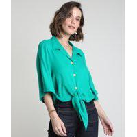 Camisa Feminina Com Nó Manga Ampla Verde