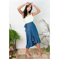 Saia Midi Sisal Jeans Envelope Babado Blue Jeans