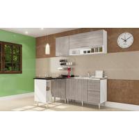 Cozinha Americana Modulada Completa Com 5 Módulos Branco/Fresno - Art In Móveis