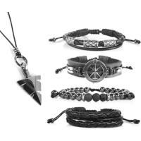 Pulseiras Marshop Bussola Kit Com Colar Tribal Preto