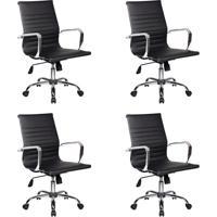 Conjunto Com 4 Cadeiras De Escritório Diretor Giratórias Eames Best Preto