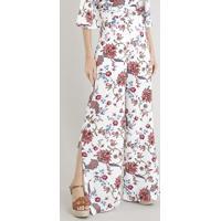 Calça Feminina Pantalona Estampada Floral Com Fendas Off White