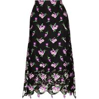 Paco Rabanne Floral Print Midi Skirt - Preto