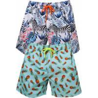 Kit 2 Shorts Escatch Estampado Grace Bay - Zebra E Pineapple