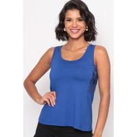 Blusa Com Renda- Azul- Thiptonthipton