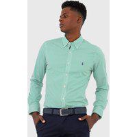 Camisa Polo Ralph Lauren Slim Listrada Branca/Verde