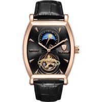 Relógio Tevise 8383D Masculino Automático Pulseira De Couro Preto - Preto E Dourado