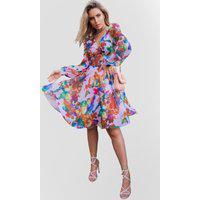 Vestido Estampado Atelier Lily Daisy Ld168 Rosa Floral