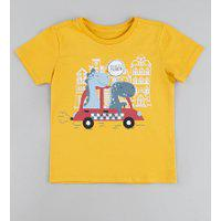 Camiseta Infantil Dinossauros No Carro Manga Curta Amarela