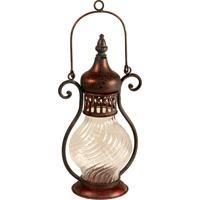 Lanterna Decorativa De Metal Envelhecido E Vidro Boudenib