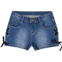 Short Jeans Com Amarração- Azul Escuro & Preto- Marimarisol