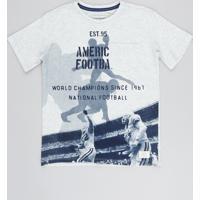 Camiseta Infantil Futebol Americano Com Bolso Manga Curta Gola Careca Cinza Mescla Claro