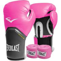 Kit Boxe Everlast - Luva Rosa 14Oz + Bandagem Rosa