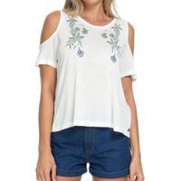 Camiseta Roxy Bird Flower Feminina - Feminino-Branco