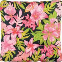 Futton Alasca Floral- Preto & Rosa Claro- 8X40X40Cm