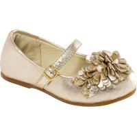 Sapato Boneca Em Couro Com Flor- Ouro Velhoprints Kids