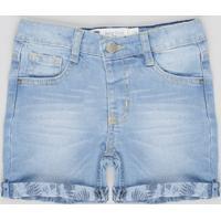 Bermuda Jeans Infantil Com Bolsos Azul Claro