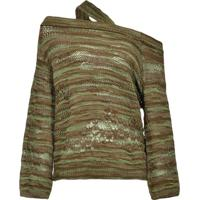 Pinko Suéter Ombro A Ombro Com Destroyed - Verde