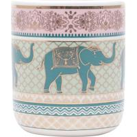 Cachepot Indian Elephant- Off White & Verde Escuro- Urban