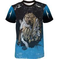 Camiseta Quisty Dry Fit Pitbull Dog Fighter Jiu Jitsu Azul - Kanui