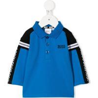 Boss Kids Logo Stripe Polo Shirt - Azul