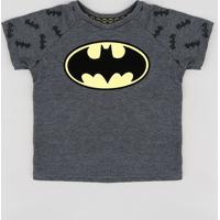 Camiseta Infantil Batman Raglan Manga Curta Gola Careca Cinza Mescla Escuro