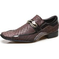 Sapato Social Masculino Calvest Com Metal Dourado Estampado 1930C229Esc-Café